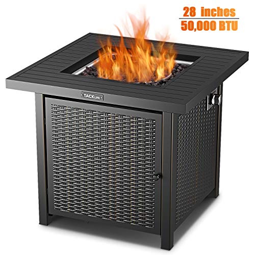 TACKLIFE Propane Fire Pit Table, 28 inch 50,000 BTU Auto-Ignition Outdoor Gas Fire Pit Table with Cover, CSA Certification Approval and Strong Striped Steel Tabletop (Square Black) (Patios Pits Small With Fire)