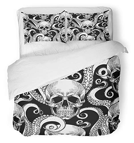 Emvency 3 Piece Duvet Cover Set Brushed Microfiber Fabric Breathable Blue Anatomy Skull and Tentacles of The Octopus Beautiful Black Bone Collection Bedding Set with 2 Pillow Covers Twin Size