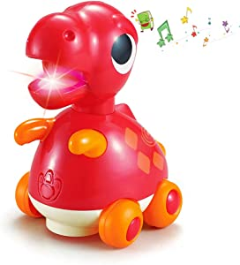 Woby Musical Dinosaur Car Action Educational Learning and Walking Toy for 1 Year Old Baby Toddler Girl Boy (Tyrannosaurus rex)