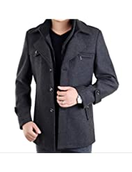 DeLamode Men's Double Layer Zipper Button Coat Comfort Wool Winter Long Jacket