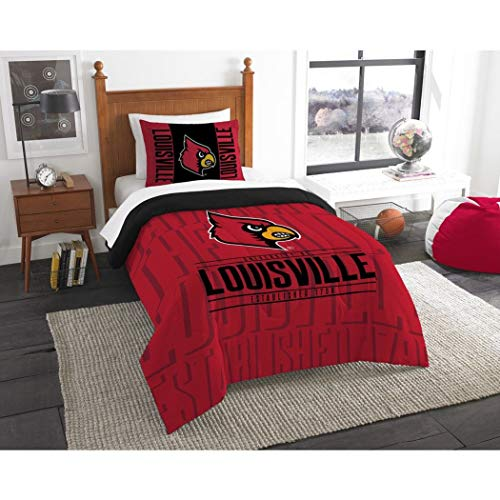 - 2 Piece NCAA Louisville Cardinals Comforter Twin Set, Sports Patterned Bedding, Featuring Team Logo, Fan Merchandise, Team Spirit, College FootBall Themed, Black Red Multi