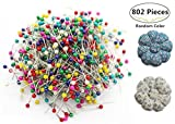 800pcs Sewing Pins + 2 Pumpkin Pin Cushions, Magnolora 38mm Multicolor Round Pearl Head Dressmaking Pins Weddings Corsage Florists Quilting Pins for Sewing, Crafting, Christmas Ornament Decoration