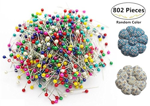 800pcs Sewing Pins + 2 Pumpkin Pin Cushions, Magnolora 38mm Multicolor Round Pearl Head Dressmaking Pins Weddings Corsage Florists Quilting Pins for Sewing, Crafting, Christmas Ornament Decoration by Magnolora