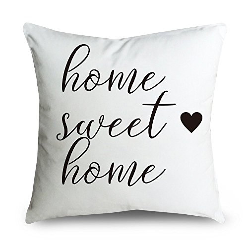 FabricMCC Throw Pillow Cover 18 Inch Quote Words Square Decorative Cushion Cover Throw Pillowcase for Couch (home sweet home)