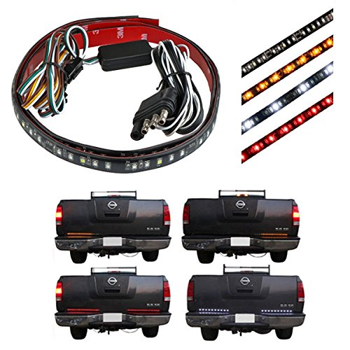 Price comparison product image Powstro 2pcs 50cm 98-LED Tailgate Light Bar Flexible Pickup Car Running/Brake/Reverse/Flowing Turn Signal/Rear Strip Light Lamp Red Amber and White 12V