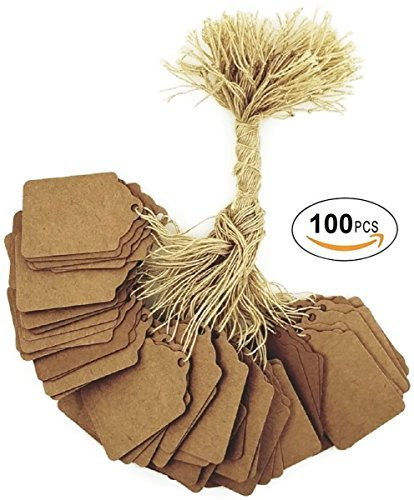 100 pcs Kraft Gift Marking Tags Price Labels Display Tags Strung for Crafts & Gifts. Personalize & Price your merchandise (1 1/4