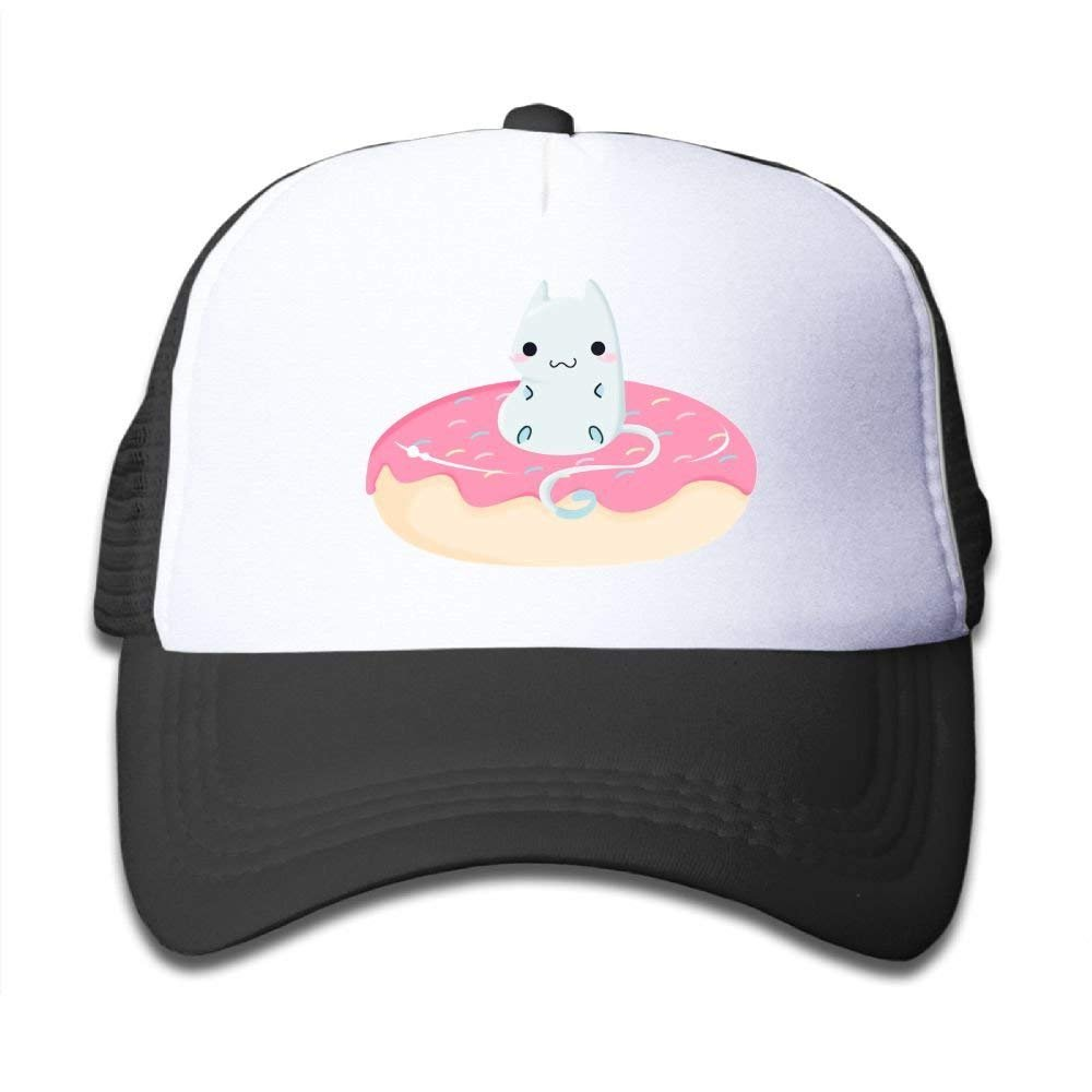 Cat Donut Child Baby Kid Mesh Caps Adjustable Trucker Hats Summer Baseball Caps