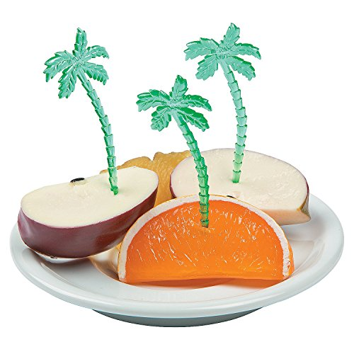 Fun Express Luau Plastic Palm Tree Picks (Pack of 72), (Palm Tree Party Picks)
