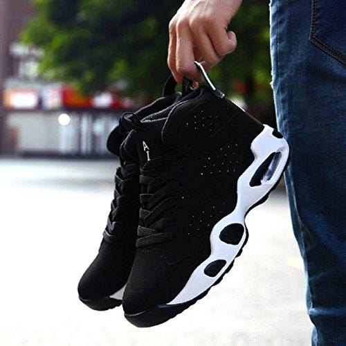 1ce0bc305 ... Hombres Zapatos deportivos Formación Respirable Aumentado Zapatos de  basquetbol Zapatillas Entrenadores Black