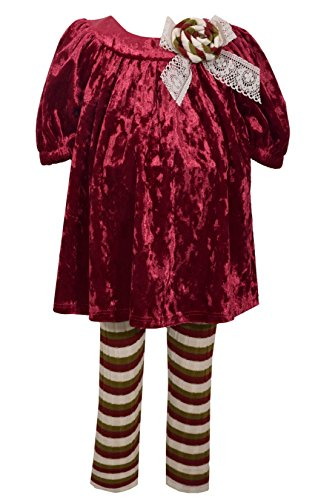 Bonnie Jean Girls' Toddler' Crushed Velvet Dress and Legging Set, Burgundy, 4T]()