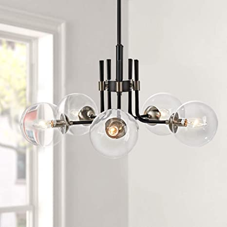 Amazon Com Motini 5 Light Sputnik Chandelier With Clear Glass 5lt Modern Pendant Geometric Light Rod Hanging Lighting Indoor 27 X 27 X11 Black Brushed Nickel Home Improvement