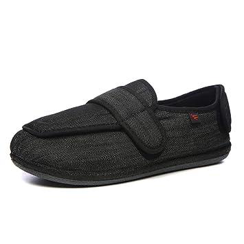 Willsky Zapatos diabéticos para Hombres, Espuma viscoelástica Zapatillas para ensanchar Velcro Ajustable Cómoda Artritis Edema Hinchada Casa Gasa Zapatos de ...