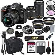Nikon D3500 DSLR Camera with 18-55mm VR and 70-300mm Lenses + 128GB Card, Tripod, Flash, ALS VARIETY 21pc Bund