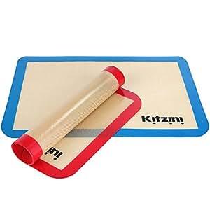"Silicone Baking Mat Sheet Set (2) Half Sheets 16.5"" x 11 5/8"" - Non Stick Cookie Sheets Professional Grade - Includes Bonus Recipe eBook"