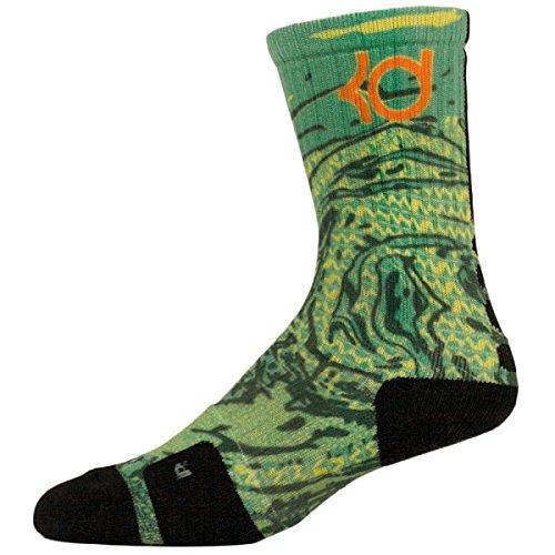 "Nike Elite KD ""Weatherman"" Epic Print Basketball Crew Socks, Green/Black, Large 8-12"
