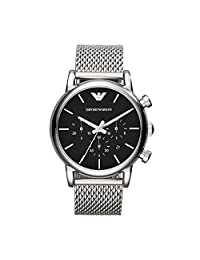Emporio Armani AR1811 Mens Black and Silver Luigi Mesh Bracelet Watch