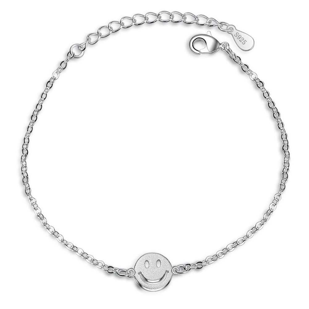 S925 Siver Plated Smiling Emoji Face Women Adjustable Ankle Bracelet, 9.8'' lobster clasp 9.8'' lobster clasp BulingVV BLVV26