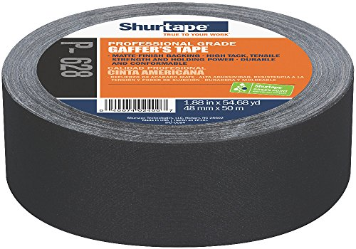 Shurtape P- 628 Professional Grade, Coated Gaffer's Tape, 48mm x 50m, Black, 1 Roll (138775)