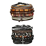 Udalyn 9Pcs Leather Bracelet Set Wooden Beads Bracelets Adjustable Bangle Wristband For Men Women