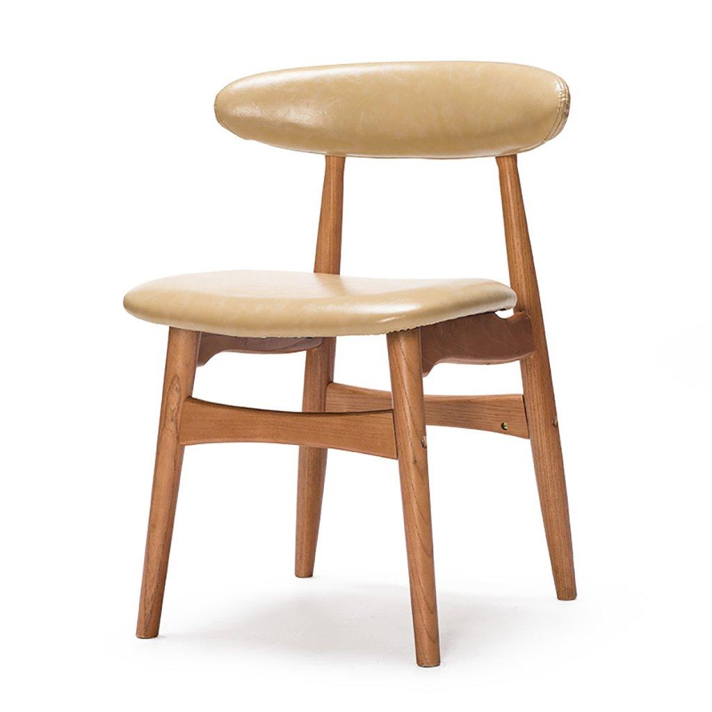 ダイニングチェアセット1/2/3/4、背もたれ椅子、木製の脚、PUシート、リビングルーム用背もたれ (色 : アースイエロー, サイズ さいず : Set of 1) B07FD19YGGアースイエロー Set of 1