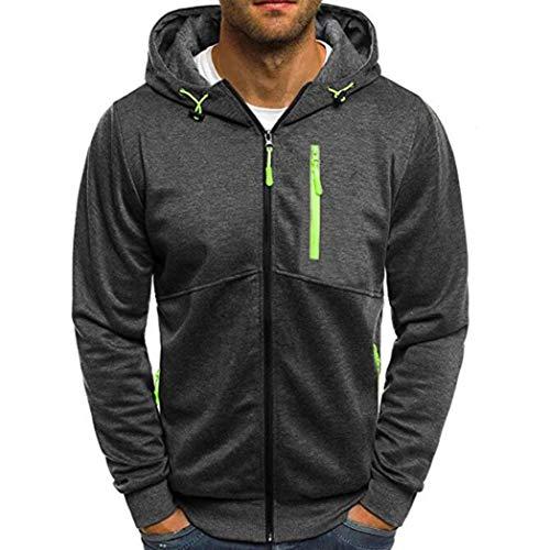 Price comparison product image Mens'Coat Jacket,Caopixx Autumn Winter Long Sleeve Sweatshirt Zipper Patchwork Hooded Sweatshirt Cardigan Tops