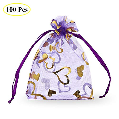 SumDirect 100Pcs 3.35x4.53 inches Sheer Drawstring Heart Organza Jewelry Pouches Wedding Party Christmas Favor Gift Bags (Light Purple)