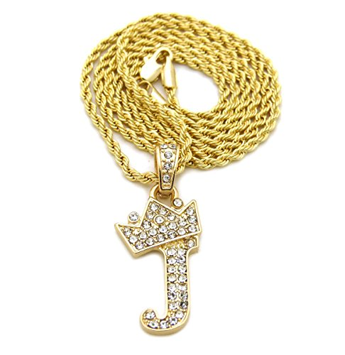 """Unisex Small Size Pave Crown Tilted Initial Alphabet Letter Pendant 2mm 24"""" Rope Chain Necklace in Gold, Silver Tone (J - Gold Tone)"""