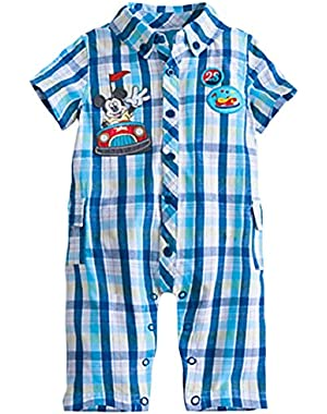 Mickey Mouse Baby Boys' Woven Bumper Car Romper