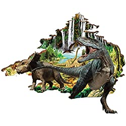 Boodecal 3D Jurassic World Dinosaurs Crack Hole Stickers Peel and Stick Wall Decal Mural Bedroom Kids Room Playroom Decor 3933 Inches