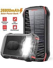Solar PowerBank 26800mAh QI Wireless Ladegerät Externer Akku Tragbare Notfall-Energie IP66 Wasserdicht mit Dual Eingangsports und 3 USB Ausgängen für Allen Handys, iPad, Kamera, Tablet usw