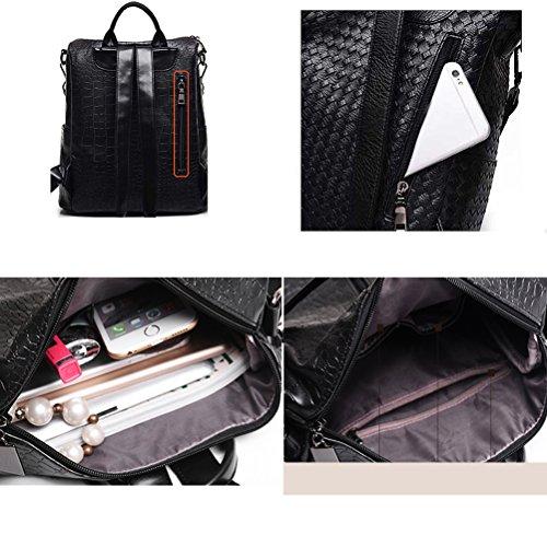 YIMOJI Backpack Washed Purse Ladies Backpack Girls Teenage for Black Black Women Rucksack PU Bag Leather Shoulder C5CUrfnR
