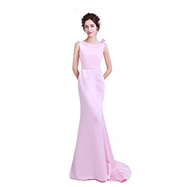 Risestaryiding Mermaid Crystal Evening Dress Pink Backless Party Elegant Long Prom Gown (Pink, 2