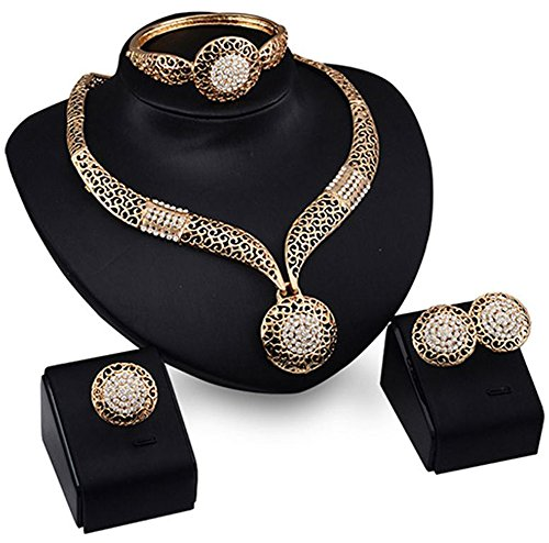 Party Necklace Set (Fashion Women Jewelry Sets Bride Wedding Party Gold Plated Chain Necklace Earring Set)