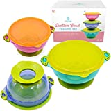 Great  Baby Bowls with Suction – Suction Bowl for Toddlers, Set of 3 Stackable Feeding Bowls with Spill-Proof Lids