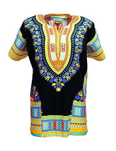 KlubKool Dashiki Shirt Tribal African Caftan Boho Unisex Top Shirt (Black/Yellow/Light Blue,Medium)