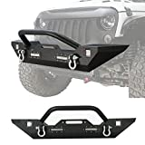 Hooke Road 2007-2018 Jeep Wrangler JK Different Trail Front Bumper w Winch Plate & 4X LED Accent Lights(Textured Black Finished)
