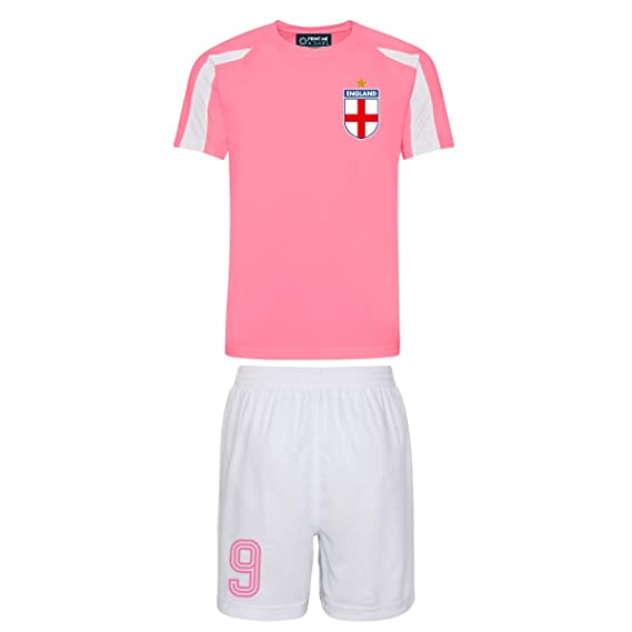 bfee1b139 Kids Customisable pink and white England style football kit shirt and  shorts home