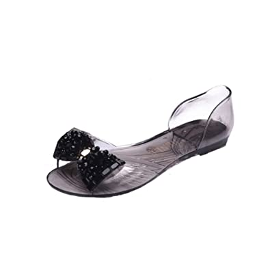 310adc6135c0ac ANDAY New Women Clear Peep Toe Jelly Flats Sandals Beach Travel Pumps With Rhinestone  Bow Black