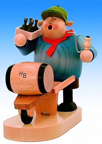 KWO Beer Barrel Deliveryman German Christmas Incense Smoker Made in Germany New