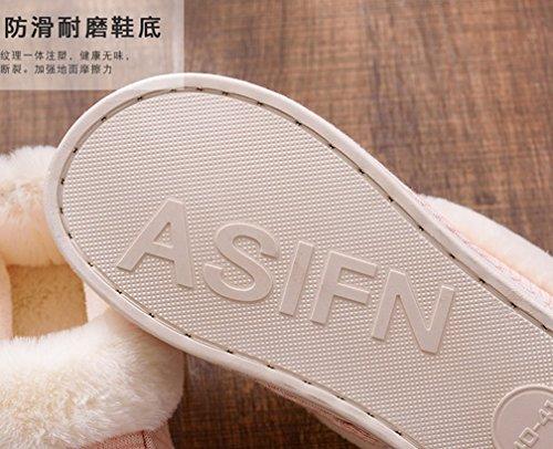 Cattior Femmes Fourrure Doublée Chaud Intérieur Pantoufles En Plein Air Maison Chaussures Rose