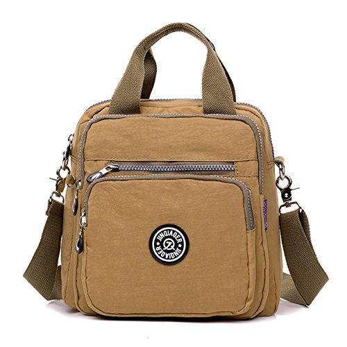 tianhengyi Niñas multifunción resistente al agua nylon asa superior bolso de mano bolso de bolso de Crossbody Mochila marrón
