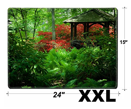 Cat Gazebo (MSD Extra Large Mouse Pad XXL Extended Non-Slip Rubber Large Gaming Desk Mat Image 24354635 Beautiful manicured Shade Garden with a Gazebo Surrounded with Blooming)