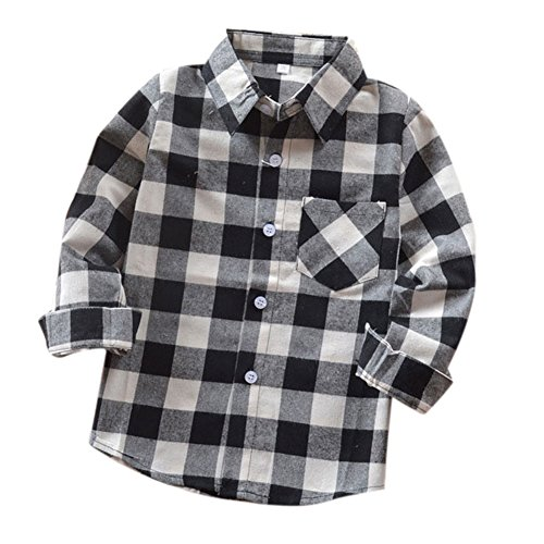 Uwback Boys Long Sleeve Flannel Check Plaid Shirts E004 Black White CN130 -