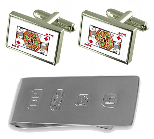 Card Money Diamond Cufflinks Playing King James amp; Bond Clip TSq5B1S