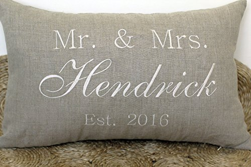 DecorHouzz Mr and Mrs Personalized Name and Date Pillow Cover Embroidered Wedding Couple Anniversary Customized Pillow Cases Throw Pillow Slip Covers Decorative Pillow