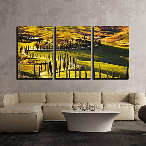 Tuscany Rural Sunset Landscape Countryside Farm Cypresses Trees Green Field x3 Panels
