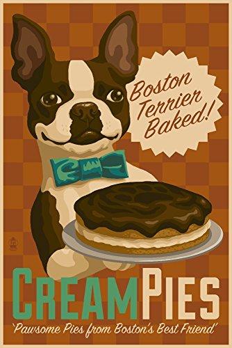 Boston Terrier - Retro Cream Pie Ad (12x18 Fine Art Print, Home Wall Decor Artwork Poster)