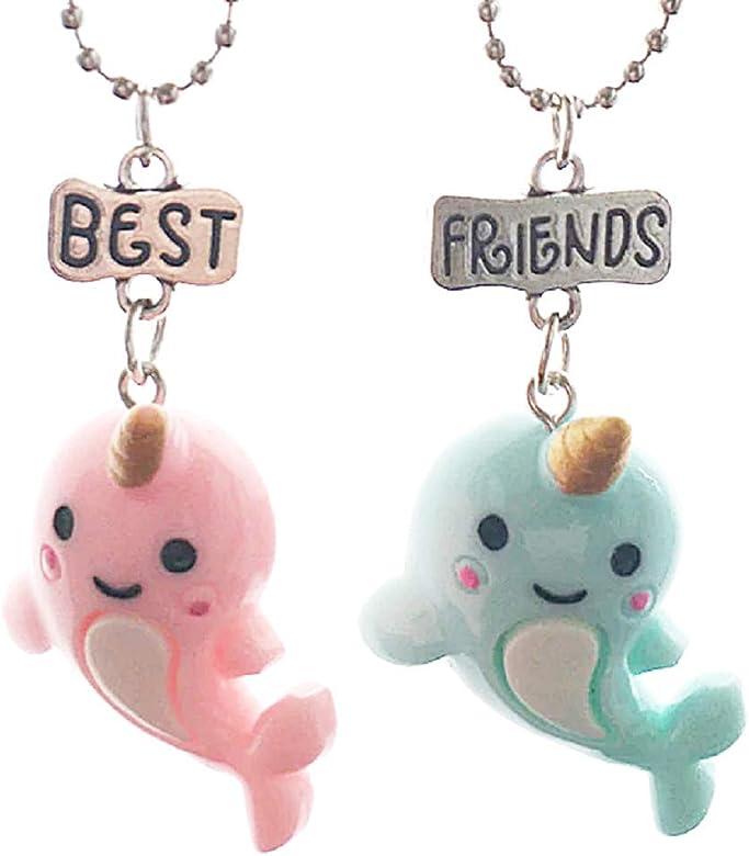 Lovelegis Dos Collares De Nina Amistad Mejores Amigos Mejores Amigos Para 2 Kawaii X 2 Bff Pareja Delfines Unicornio Navidad Pez Rosa Y Azul Amazon Es Joyeria