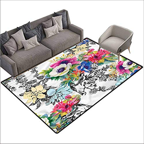 Indoor/Outdoor Rubber Mat Flower,Colorful Garden with Leaves 36