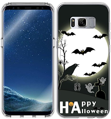 Case for S8 Halloween Design / IWONE Designer TPU Non Slip Rubber Durable Compatible Protective Skin Clear Replacement Cover For Samsung Galaxy S8 + Happy Halloween Quotes Design Bat Crow ()